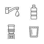 Water icons: faucet, bottle, water cooler dispenser, glass
