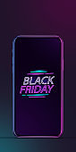 Device with neon lettering, black friday, sales concept. Flyer with copyspace. Dark neoned background