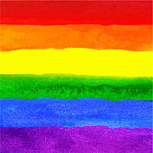 Watercolor Hand Painted Colorful Striped Ranbow Flag
