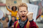 Man shouting during protest march