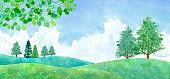 Landscape of fresh green plains and cumulonimbus clouds, watercolor illustration