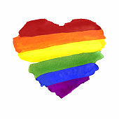 Watercolor Hand Painted Colorful Striped Ranbow Flag with Heart Shape