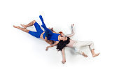 The group of modern dancers, art contemp dance, blue and white combination of emotions