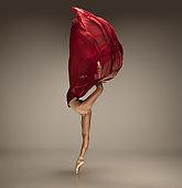 Young graceful tender ballerina on grey studio background