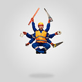 Handsome contractor, multi-armed builder levitating isolated on grey studio background