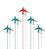 Business leadership concept with red plane leading airplanes above in the sky