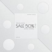 Sale minimal banner circle frame for showcase design white color style