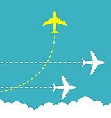 Think different business concept illustration, Bright yellow airplane changing direction and white ones