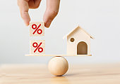 Interest rate financial and mortgage rates concept. Wooden home and hand putting cube block shape with icon percent on wood scales