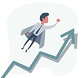 Flat super businessman carrying business graph up to the sky. Business success and leadership concept