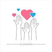 Raised hands volunteering sign with any size heart shape, Charity work, Outline design icon vector illustration