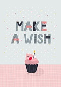 Make a wish Birthday party lettering postcard