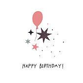 Happy Birthday decoration illustration lettering