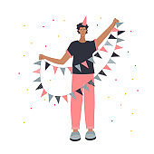 Birthday guy with decorative flags illustration