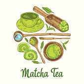 Matcha vector illustration with food and drink sketch. Round compositions. Japaneese ethnic and national tea ceremony. Traditions of teatime. Decorative elements for your design.
