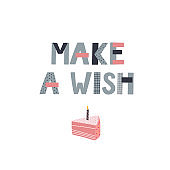 Make a wish Birthday party lettering illustration