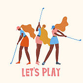 Set with african american young girl hitting ball with golf club. Vector flat hand drawn illustration. Female golfer plays golf. Woman in sport. T-shirt print design. Let's play. Cartoon characters.