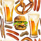 Seamless background with beer and snacks in watercolor style. Illustration hand-drawn pattern on white. Traditional oktoberfest food. Pub menu.