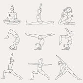Different yoga poses continuous one line vector illustration.