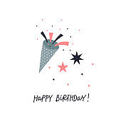 Happy Birthday party popper illustration postcard