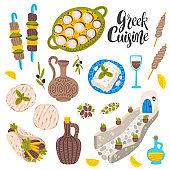 Greek cuisine flat vector illustrations set. Food