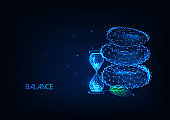 Futuristic balance, time management concept with glowing low polygonal balancing rocks and hourglass