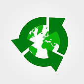 Green earth, World Environment Day, concept of saving the planet stock vector. Recycle icon