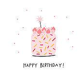 Happy Birthday cake illustration lettering card