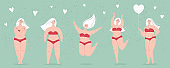 A happy beautiful plump women in a swimsuit holding a heart-shaped balloon,dancing,jumping,hugs herself. Concept of body positivity, self-love, overweight. Flat vector female character