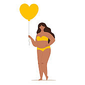 A happy beautiful plump woman in a swimsuit holding a heart-shaped balloon. Concept of body positivity, self-love, overweight. Flat vector female character