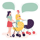 Two young women walking with baby carriages talking and smiling. Concept of happy motherhood, female friendship, activity with kids. Dialogue, speech bubble. Flat cartoon vector illustration