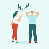 Adult man and woman quarrel. Concept of family conflicts, resentment, aggression, divorce. Husband and wife scream and swear. Flat vector illustration isolated.