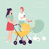 Two young women walking with baby carriages, talking and smiling.Concept of happy motherhood, female friendship, activity with kids.Flat cartoon vector illustration