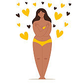 A beautiful plump woman in a swimsuit stands in full growth and hugs herself. Concept of body positivity, self-love, overweight. Flat vector female character