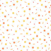 Confetti with stars on white background. Seamless vector pattern
