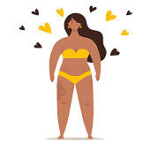 A beautiful plump woman in a swimsuit stands in full growth. Concept of body positivity, self-love, overweight. Flat vector female character
