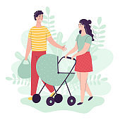 Young man and woman are walking with a baby in a stroller. Happy parents, family. People Talking Smile Flat Cartoon Vector Illustration