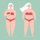 A beautiful plump woman in a swimsuit stands in full growth.One is ashamed of her body, the other is happy and loves hers.Concept of body positive,self love, overweight.Flat vector female character