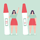 Young woman holding a big pregnancy test. Positive and negative result. Pregnancy planning concept, difficulties of conception, fertilization. Sad and happy character. Flat vector illustration
