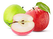 three green red apple sliced isolated on a white background