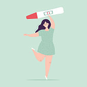 Young woman holding a big pregnancy test. Positive result, two stripes. Pregnancy planning concept, difficulties of conception, fertilization. Happy character. Flat vector illustration