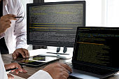 Programming code abstract technology background Developer programming and coding technology  software developer and Computer script
