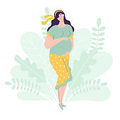 Beautiful pregnant woman in full growth holds hands on her belly. Gentle vector illustration of a female character. The concept of expecting a baby, pregnancy, motherhood.