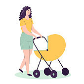 A young mother walks with a baby carriage. Woman with a child. Mom and son or daughter. Flat vector cartoon illustration isolated on white background