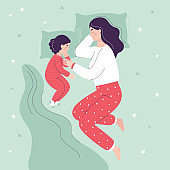 Beautiful mom and daughter are sleeping in bed. The concept of children sleeping together with parents. Flat vector cartoon illustration