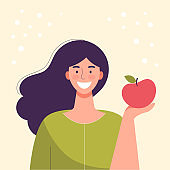 Smiling young woman is eating an apple. Diet food, healthy lifestyle, vegetarian food, raw food diet. Student snack. Flat cartoon vector illustration.