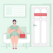 A beautiful young pregnant woman is sitting in hospital on a chair, waiting for a scheduled appointment with a gynecologist.Health check. Health care concept during pregnancy.flat vector illustration