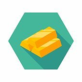 Gold Bar icon vector isometric.
