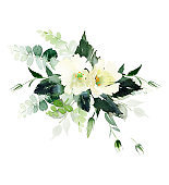Wedding invitation, greeting card, watercolor painting with plant elements on a white background in modern style.