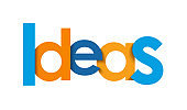 IDEAS blue and orange typography banner
